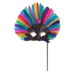 Multi-Color Feathered Mask with Black Plastic Stick