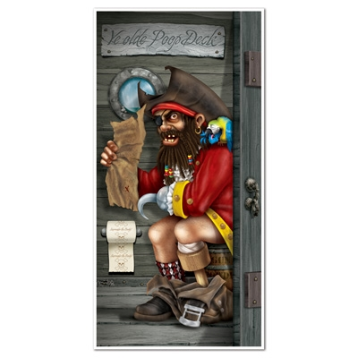 Pirate captain restroom door cover partycheap for Decoration porte halloween