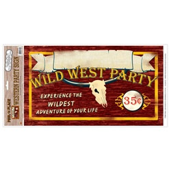 Western Party Sign Peel N Place (1/sheet)