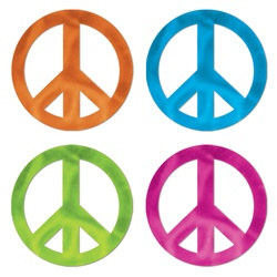 Metallic Peace Sign Silhouettes (4/pkg)