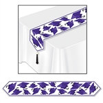 Purple Printed Grad Cap Table Runner