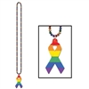 Rainbow Beads with Rainbow Ribbon Medallion (1/pkg)