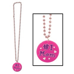 Pink Bead with Printed #1 Mom Medallion (1/pkg)