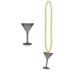 Gold Beads with Martini Glass (1/pkg)