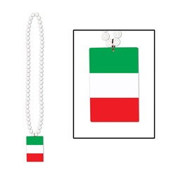 Beads with Printed Italian Flag Medallion (1/pkg)