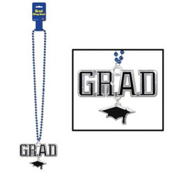 Blue Beads with Black and Silver Grad Medallion