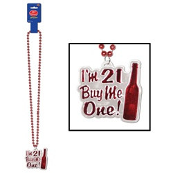 Red Beads with I'm 21 Buy Me One Medallion