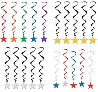 Pack of 5 Metallic Star Whirls (Choose Color)