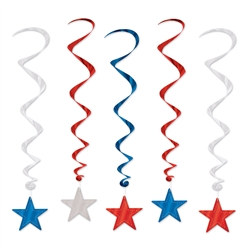 Red, Silver, and Blue Star Whirls (5/Pkg)