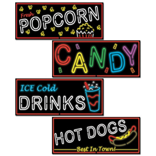 Neon Food Sign Cutouts 4pkg PartyCheap