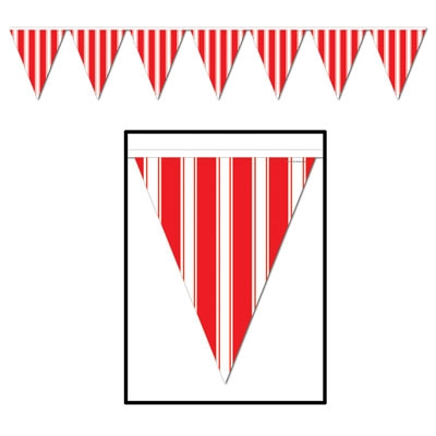 Red And White Striped Pennant Banner PartyCheap