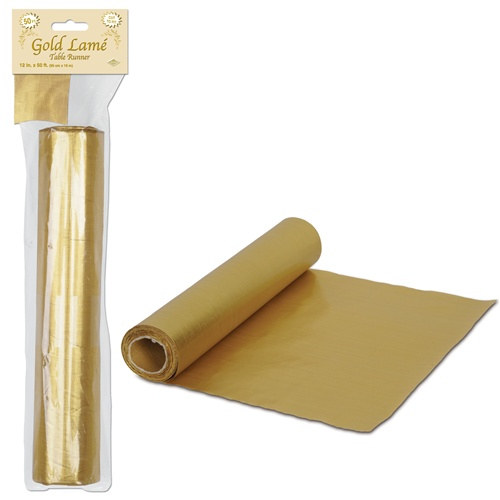 Gold lame table runner roll 50 feet partycheap