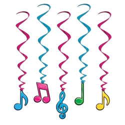 Neon Musical Note Whirls (5/pkg)