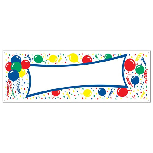 Balloons blank sign banner partycheap for Balloon banner decoration