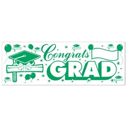 Green and White Congrats Grad Sign Banner