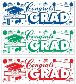"5' X 21"" Congrats Grad Sign Banner (Choose Color)"