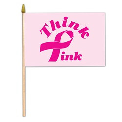 Rayon Pink Ribbon Flag (4 in x 6 in)