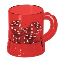 Red Mug Shot with Dice