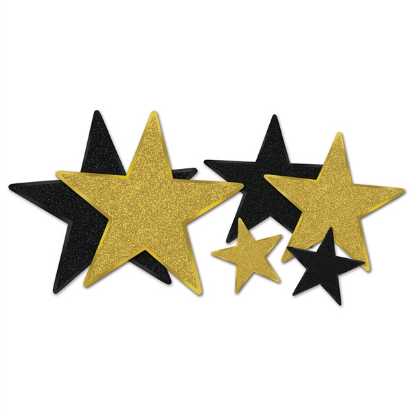 Black And Gold Glittered Star Cutouts PartyCheap