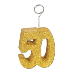 Gold Glittered 50 Photo/Balloon Holder