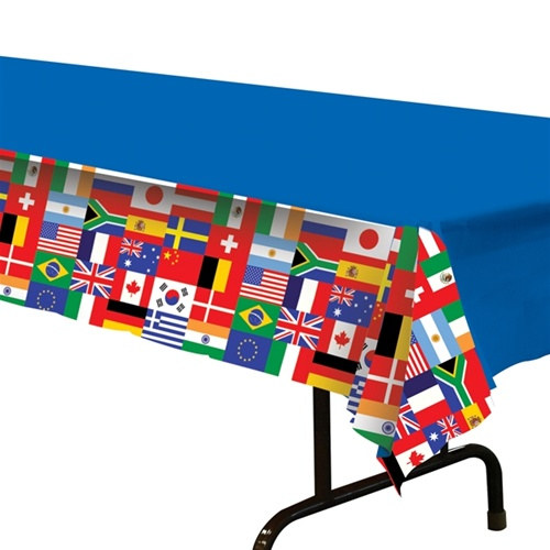 International flag tablecover partycheap for International theme decor