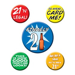 21st Birthday Party Buttons