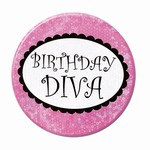 Birthday Diva Party Button