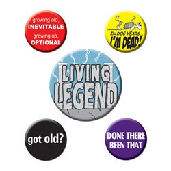 Funny Over The Hill Party Buttons (5/pkg)