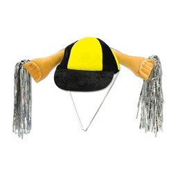 Black and Golden Yellow Plush Shaker Cap