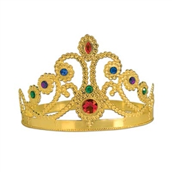 Gold Plastic Jeweled Queen's Tiara