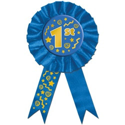 Blue 1st Award Ribbon Button