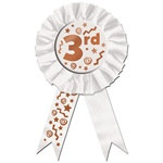 "White ""3rd"" Rosette Award Ribbon"