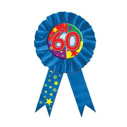"Blue ""60"" Rosette Award Ribbon"