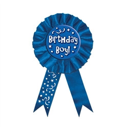 Blue Birthday Boy Rosette Award Ribbon