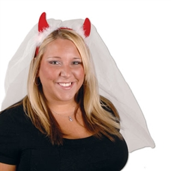 Devil Horns with Veil Headband