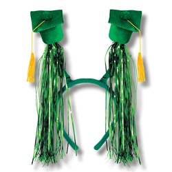 Green Grad Cap Boppers with Fringe