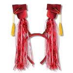 Red Grad Cap Boppers with Fringe