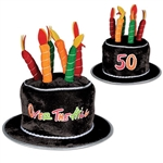 "Plush ""50"" Over-The-Hill Birthday Cake Hat"