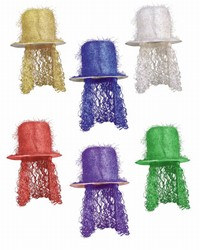 Assorted Tinsel Top Hats with Curly Wigs (1/pkg)