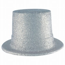 Silver Glittered Top Hat