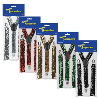 Sequined Solid Colored Suspenders - 1/pkg