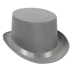 Gray Satin Deluxe Top Hat