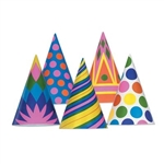 Bulk Assorted Paper Party Hats (sold 144 per box)