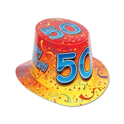 Orange Happy 50 Birthday Hi-Hat (sold 25 per box)