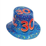 "Blue Happy ""30"" Birthday Hi-Hat (sold 25 per box)"