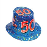 "Blue Happy ""50"" Birthday Hi-Hat (sold 25 per box)"