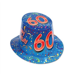 Blue Happy 60 Birthday Hi-Hat (sold 25 per box)