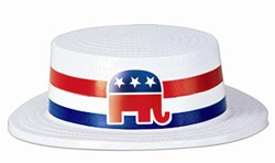 White Plastic Skimmer with Republican Elephant Band