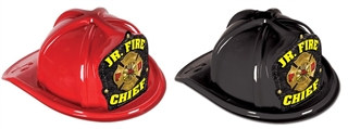 JR Junior Fire Chief Hat - Yellow Print Shield (Select Helmet Color)