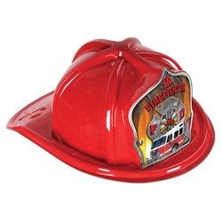 Red Junior Firefighter Hat (Fire Truck Shield)